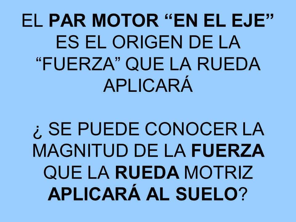 PAR MOTOR = FUERZA * DISTANCIA LA FUERZA QUE LA RUEDA APLICA SOBRE EL SUELO RESULTA DE DIVIDIR EL PAR MOTOR (en el eje) EN LA DISTANCIA (radio) es decir FUERZA = PAR MOTOR / RADIO RUEDA