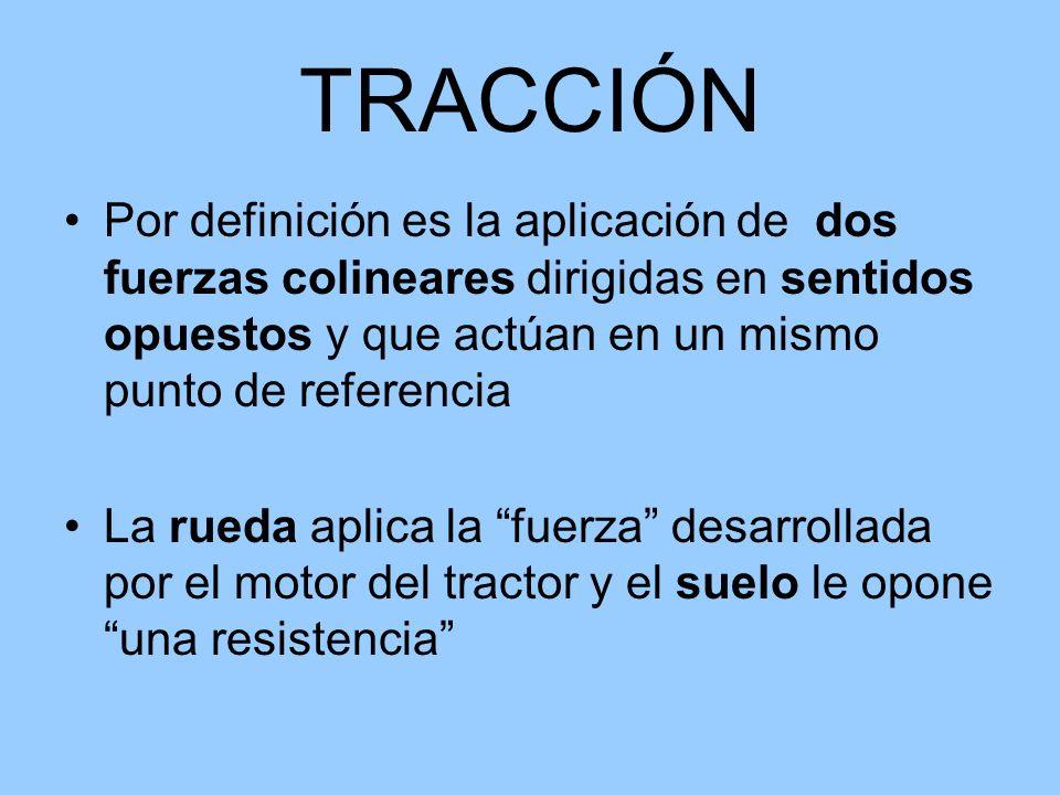 TRACCIÓN Por definición es la aplicación de dos fuerzas colineares dirigidas en sentidos opuestos y que actúan en un mismo punto de referencia La rued