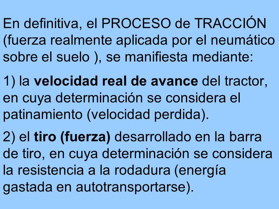En definitiva, el PROCESO de TRACCIÓN (fuerza realmente aplicada por el neumático sobre el suelo ), se manifiesta mediante: 1) la velocidad real de av