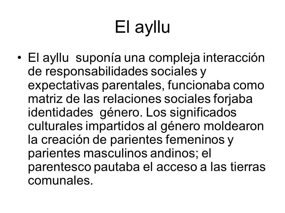 El ayllu El ayllu suponía una compleja interacción de responsabilidades sociales y expectativas parentales, funcionaba como matriz de las relaciones s