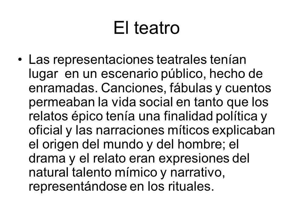 El teatro Las representaciones teatrales tenían lugar en un escenario público, hecho de enramadas. Canciones, fábulas y cuentos permeaban la vida soci