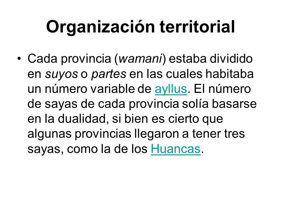 Organización territorial Cada provincia (wamani) estaba dividido en suyos o partes en las cuales habitaba un número variable de ayllus. El número de s
