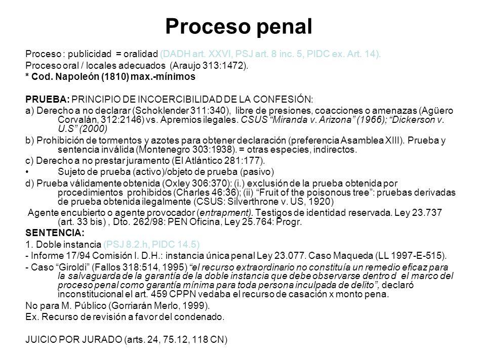 Proceso penal Proceso : publicidad = oralidad (DADH art. XXVI, PSJ art. 8 inc. 5, PIDC ex. Art. 14). Proceso oral / locales adecuados (Araujo 313:1472