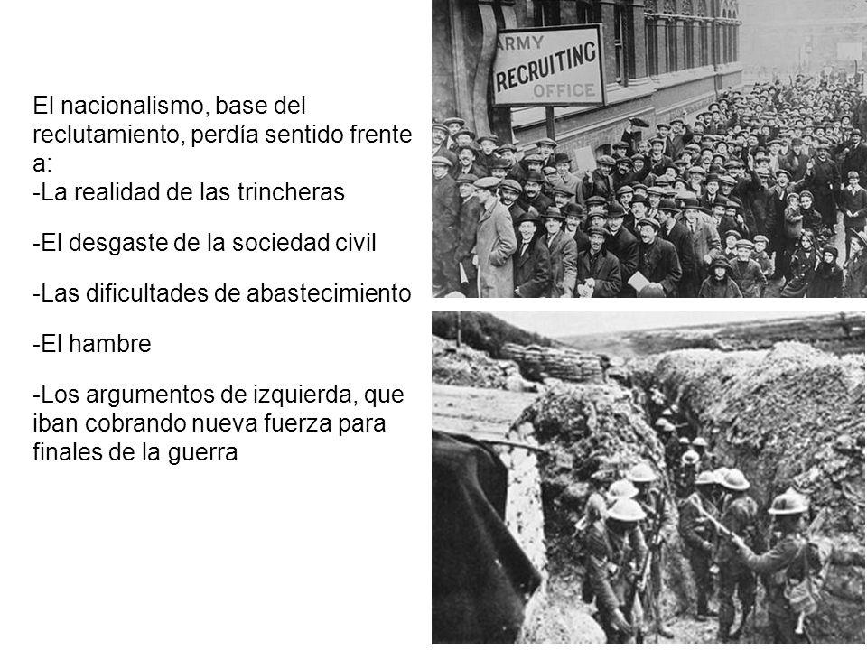 El nacionalismo, base del reclutamiento, perdía sentido frente a: -La realidad de las trincheras -El desgaste de la sociedad civil -Las dificultades d