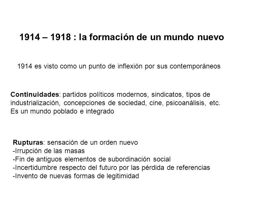1914 – 1918 : la formación de un mundo nuevo 1914 es visto como un punto de inflexión por sus contemporáneos Rupturas: sensación de un orden nuevo -Ir