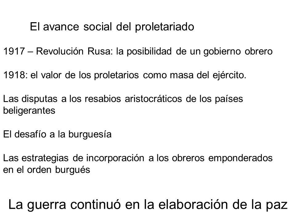 El avance social del proletariado 1917 – Revolución Rusa: la posibilidad de un gobierno obrero 1918: el valor de los proletarios como masa del ejércit