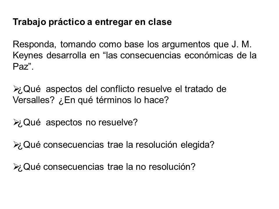 Trabajo práctico a entregar en clase Responda, tomando como base los argumentos que J. M. Keynes desarrolla en las consecuencias económicas de la Paz.