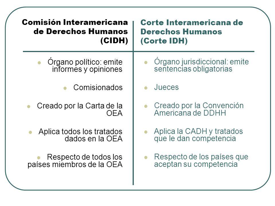 Órgano político: emite informes y opiniones Comisionados Creado por la Carta de la OEA Aplica todos los tratados dados en la OEA Respecto de todos los