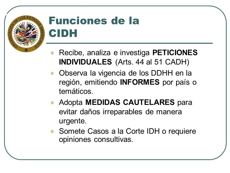 Funciones de la CIDH Recibe, analiza e investiga PETICIONES INDIVIDUALES (Arts. 44 al 51 CADH) Observa la vigencia de los DDHH en la región, emitiendo