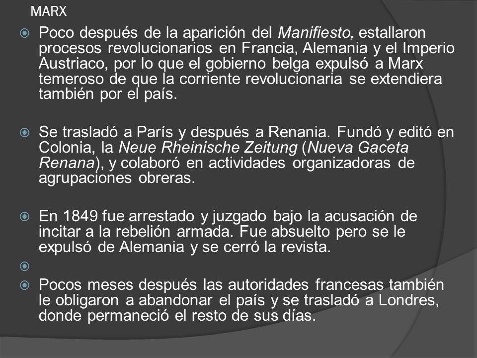 MARX Poco después de la aparición del Manifiesto, estallaron procesos revolucionarios en Francia, Alemania y el Imperio Austriaco, por lo que el gobie