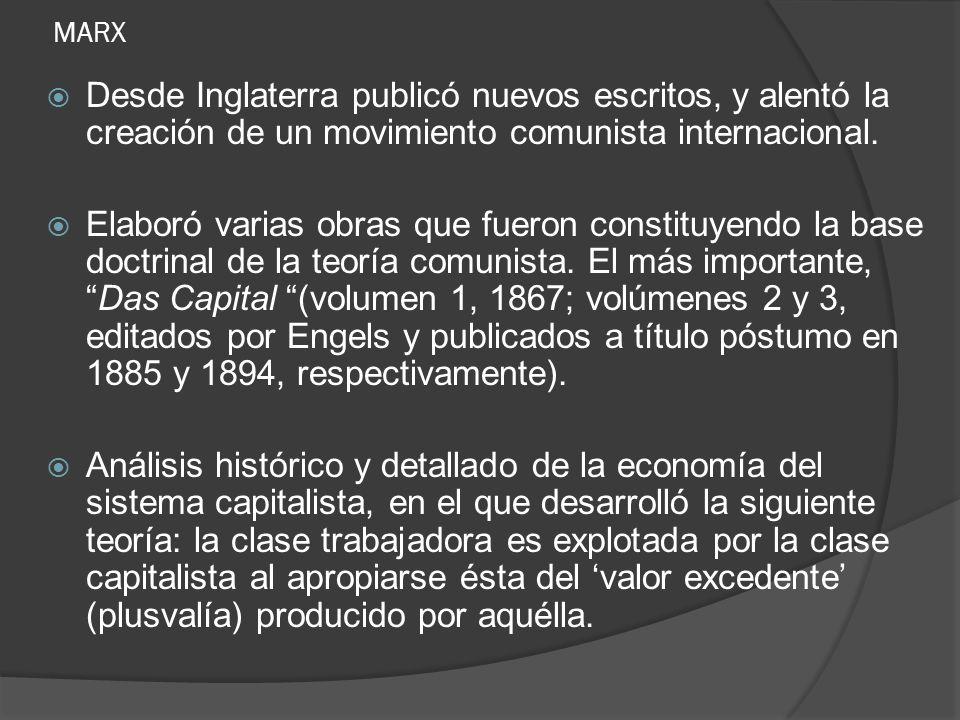 MARX Desde Inglaterra publicó nuevos escritos, y alentó la creación de un movimiento comunista internacional. Elaboró varias obras que fueron constitu