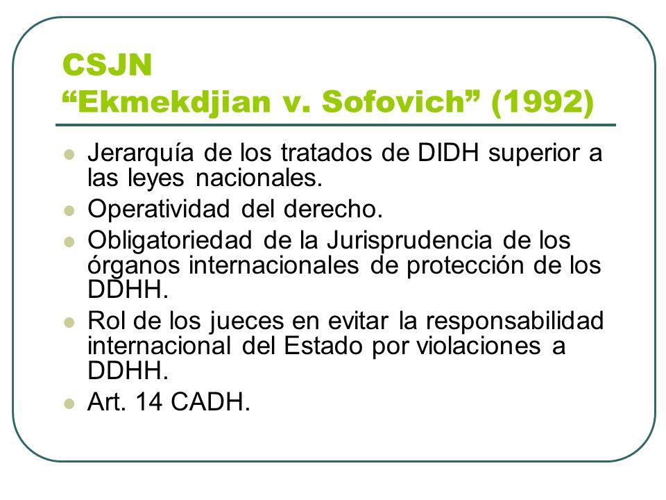 CSJN Ekmekdjian v. Sofovich (1992) Jerarquía de los tratados de DIDH superior a las leyes nacionales. Operatividad del derecho. Obligatoriedad de la J