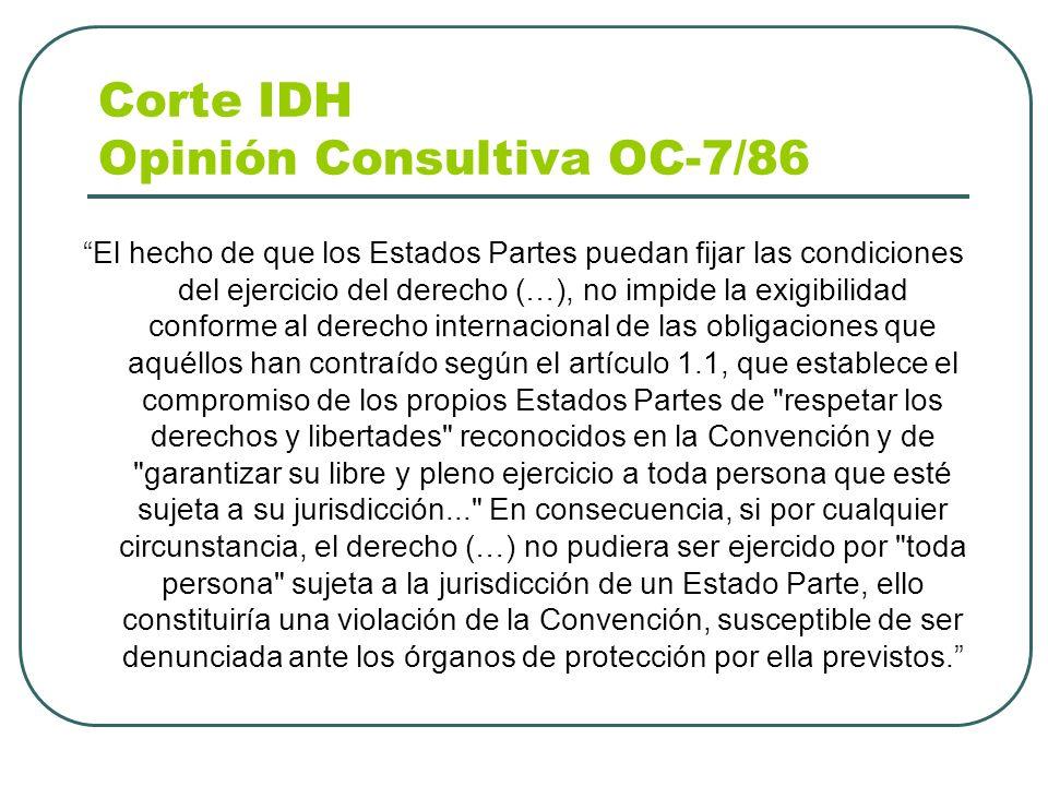 Corte IDH Opinión Consultiva OC-7/86 El hecho de que los Estados Partes puedan fijar las condiciones del ejercicio del derecho (…), no impide la exigi