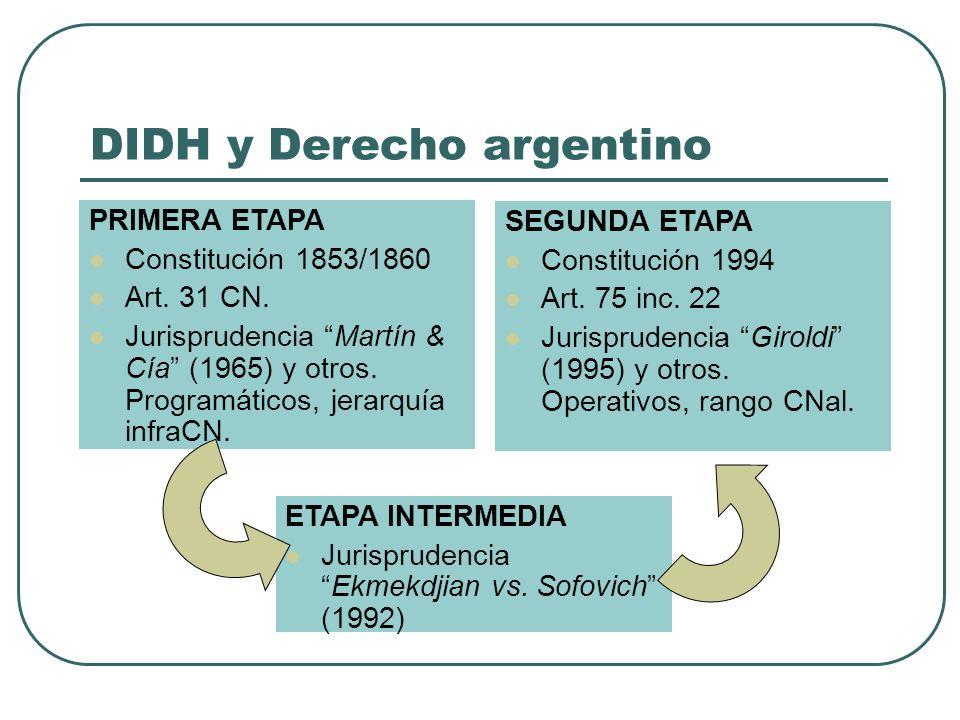 DIDH y Derecho argentino SEGUNDA ETAPA Constitución 1994 Art. 75 inc. 22 Jurisprudencia Giroldi (1995) y otros. Operativos, rango CNal. PRIMERA ETAPA