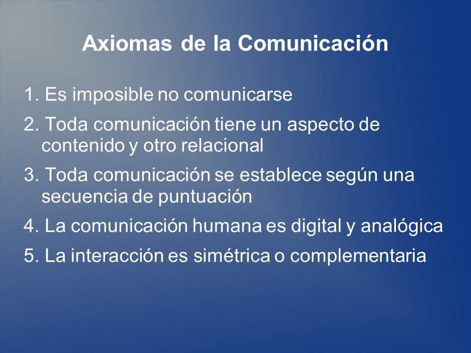 Axiomas de la Comunicación 1. Es imposible no comunicarse 2. Toda comunicación tiene un aspecto de contenido y otro relacional 3. Toda comunicación se