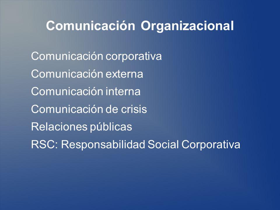 Comunicación Organizacional Comunicación corporativa Comunicación externa Comunicación interna Comunicación de crisis Relaciones públicas RSC: Respons