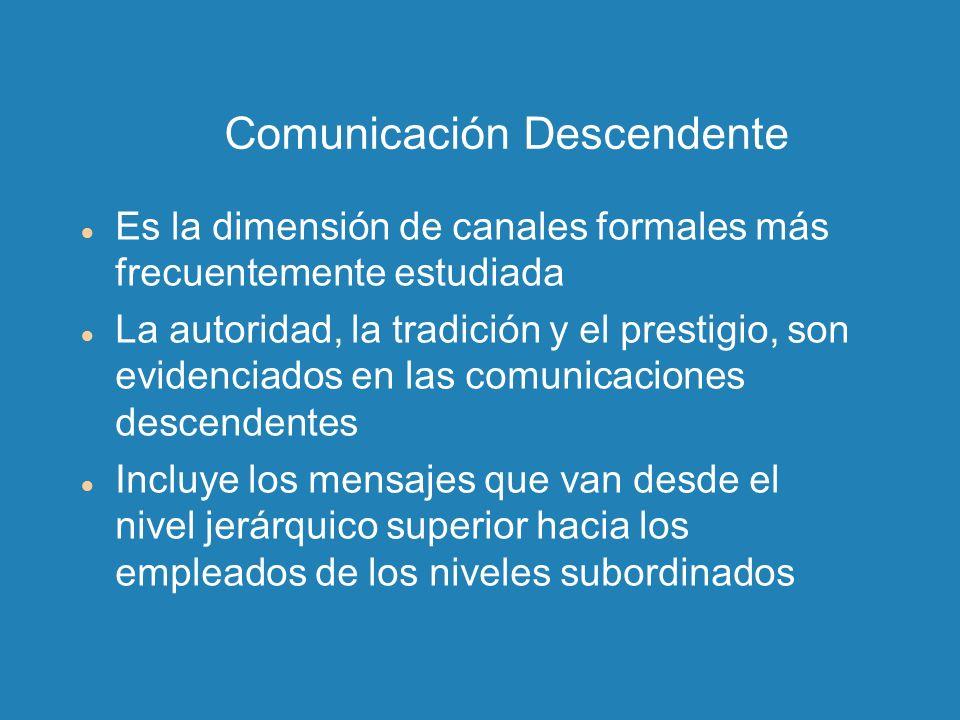 Comunicación Descendente Es la dimensión de canales formales más frecuentemente estudiada La autoridad, la tradición y el prestigio, son evidenciados