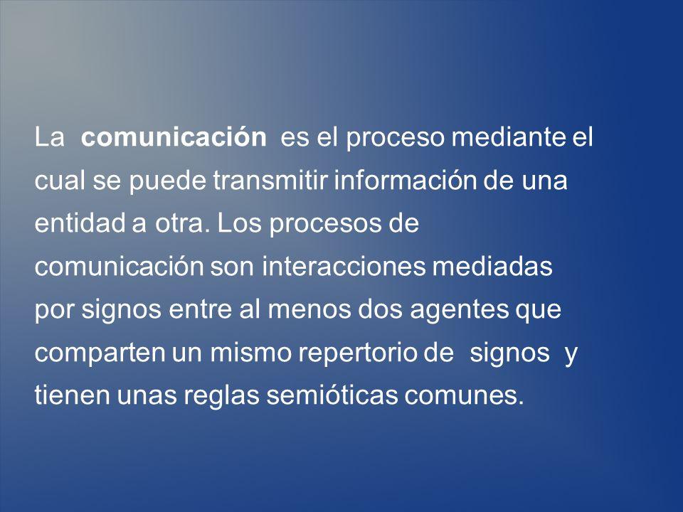 La comunicación es el proceso mediante el cual se puede transmitir información de una entidad a otra. Los procesos de comunicación son interacciones m