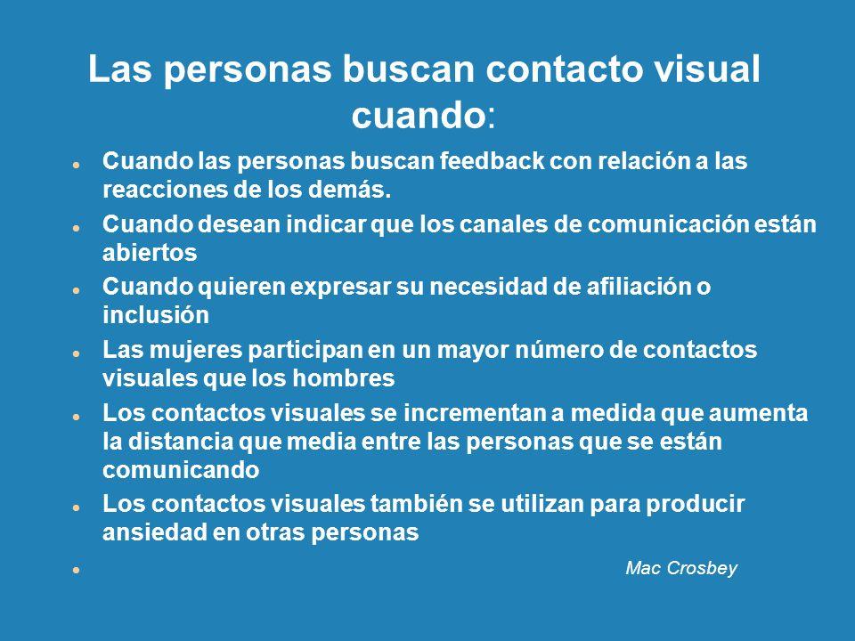 Las personas buscan contacto visual cuando: Cuando las personas buscan feedback con relación a las reacciones de los demás. Cuando desean indicar que