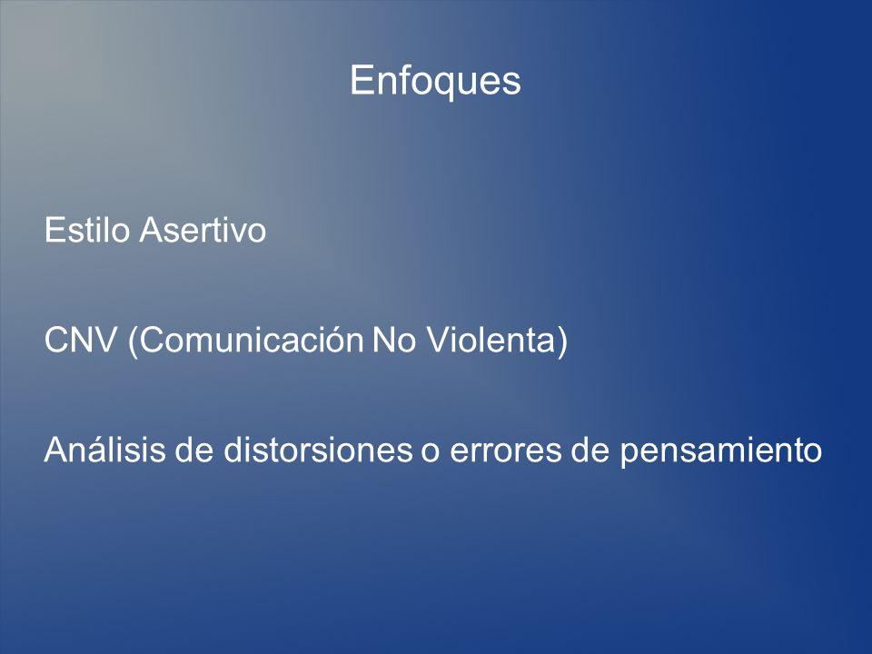 Enfoques Estilo Asertivo CNV (Comunicación No Violenta) Análisis de distorsiones o errores de pensamiento