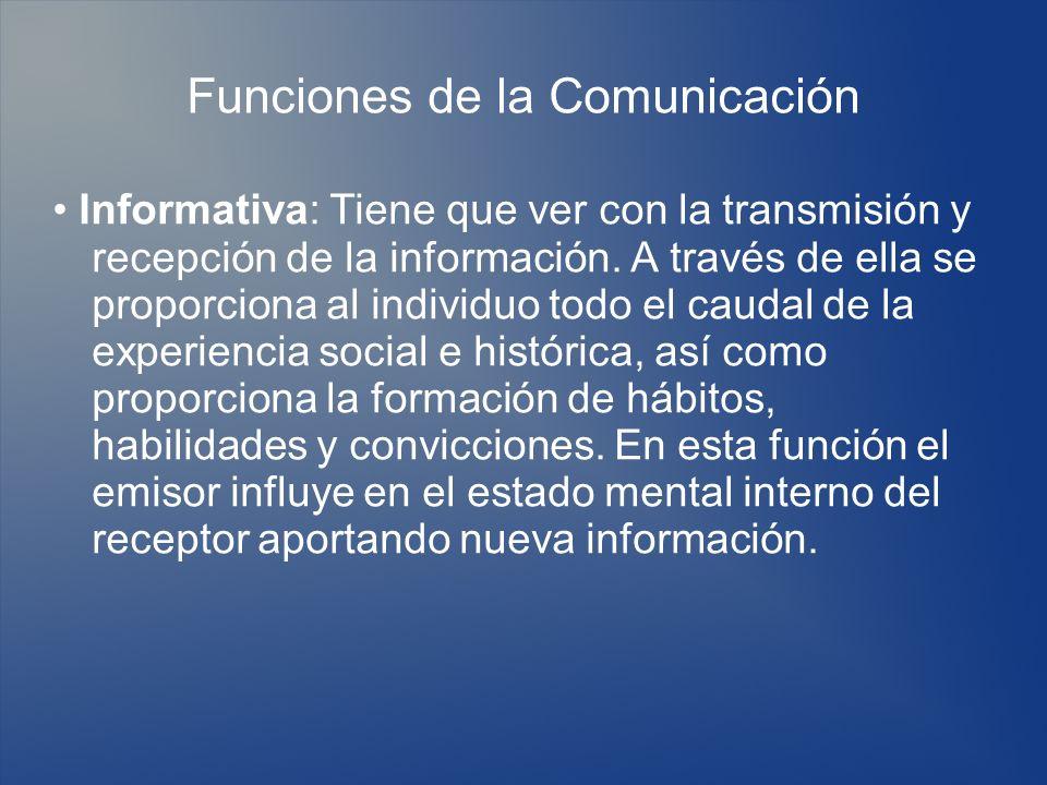 Funciones de la Comunicación Informativa: Tiene que ver con la transmisión y recepción de la información. A través de ella se proporciona al individuo