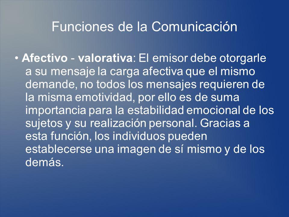 Funciones de la Comunicación Afectivo - valorativa: El emisor debe otorgarle a su mensaje la carga afectiva que el mismo demande, no todos los mensaje