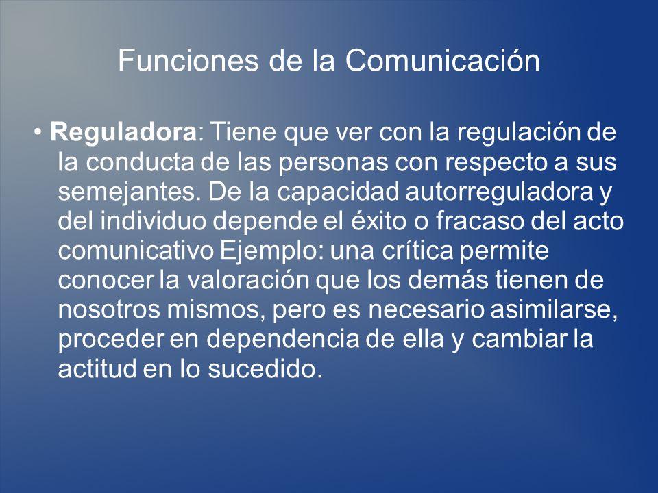 Funciones de la Comunicación Reguladora: Tiene que ver con la regulación de la conducta de las personas con respecto a sus semejantes. De la capacidad
