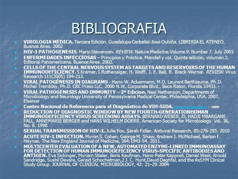 BIBLIOGRAFIA VIROLOGIA MEDICA. Tercera Edición. Guadalupe Carballal-José Oubiña. LIBRERIA EL ATENEO. Buenos Aires. 2002 HIV-1 PATHOGENESIS. Mario Stev