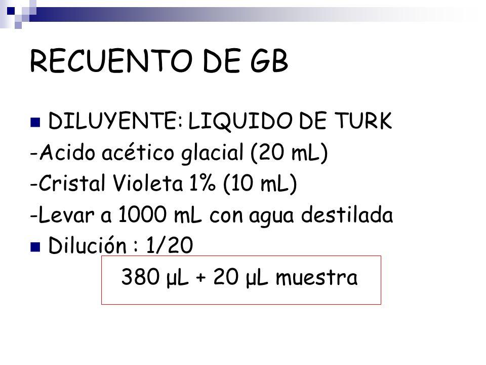RECUENTO DE GB DILUYENTE: LIQUIDO DE TURK -Acido acético glacial (20 mL) -Cristal Violeta 1% (10 mL) -Levar a 1000 mL con agua destilada Dilución : 1/