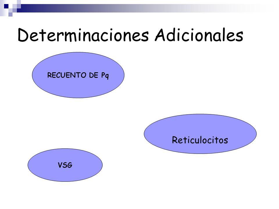 Determinaciones Adicionales RECUENTO DE Pq Reticulocitos VSG