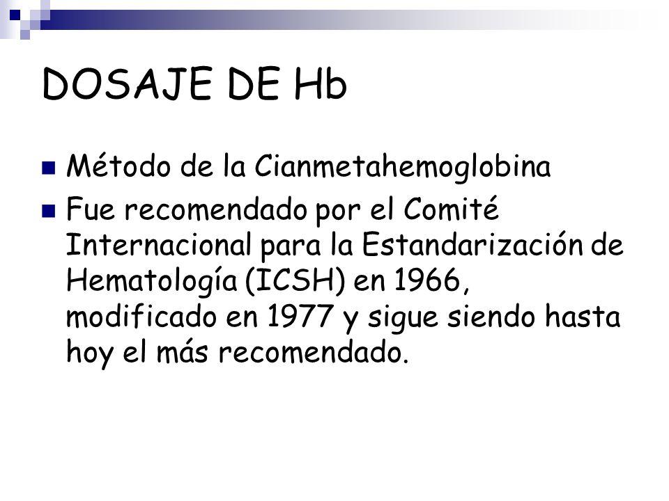 DOSAJE DE Hb Método de la Cianmetahemoglobina Fue recomendado por el Comité Internacional para la Estandarización de Hematología (ICSH) en 1966, modif