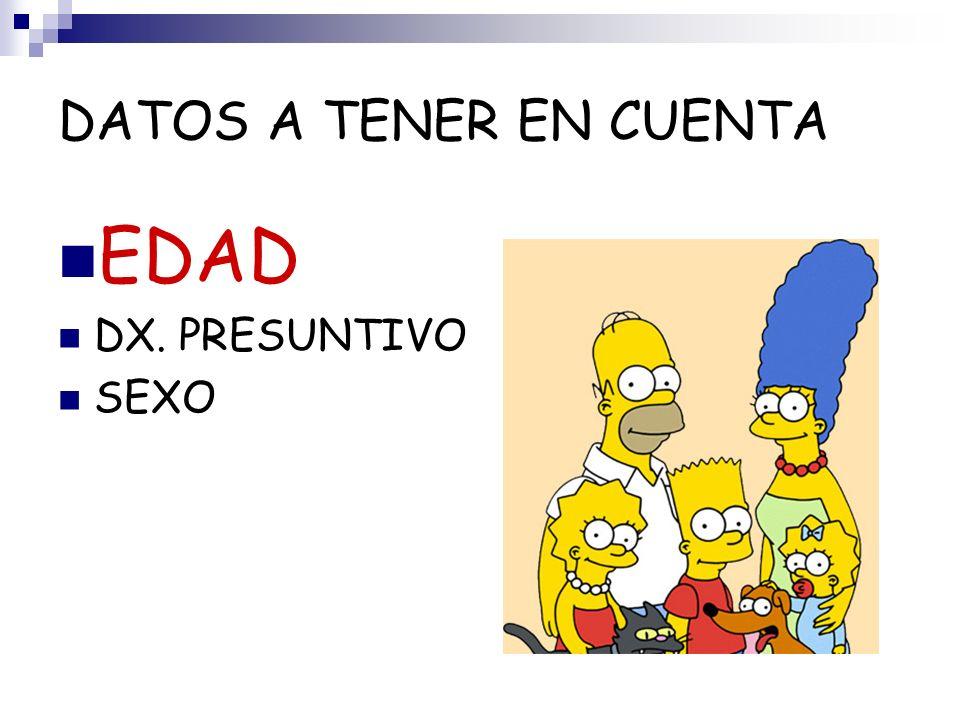 DATOS A TENER EN CUENTA EDAD DX. PRESUNTIVO SEXO