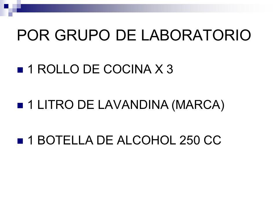 POR GRUPO DE LABORATORIO 1 ROLLO DE COCINA X 3 1 LITRO DE LAVANDINA (MARCA) 1 BOTELLA DE ALCOHOL 250 CC