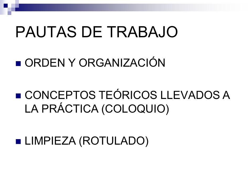 PAUTAS DE TRABAJO ORDEN Y ORGANIZACIÓN CONCEPTOS TEÓRICOS LLEVADOS A LA PRÁCTICA (COLOQUIO) LIMPIEZA (ROTULADO)