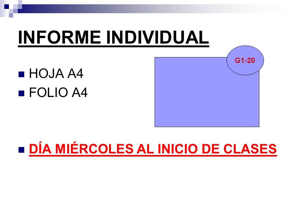 INFORME INDIVIDUAL HOJA A4 FOLIO A4 DÍA MIÉRCOLES AL INICIO DE CLASES G1-20