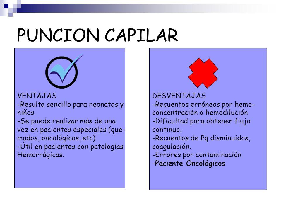 PUNCION CAPILAR VENTAJAS -Resulta sencillo para neonatos y niños -Se puede realizar más de una vez en pacientes especiales (que- mados, oncológicos, e