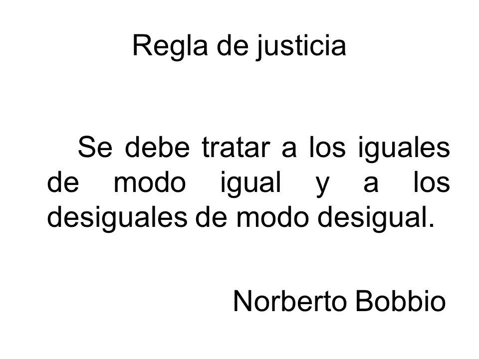 Regla de justicia ¿Quiénes son iguales y quiénes son distintos.