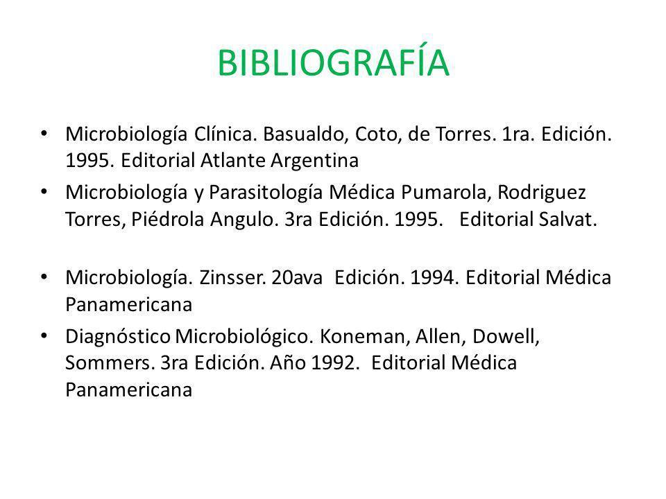 BIBLIOGRAFÍA Microbiología Clínica. Basualdo, Coto, de Torres. 1ra. Edición. 1995. Editorial Atlante Argentina Microbiología y Parasitología Médica Pu