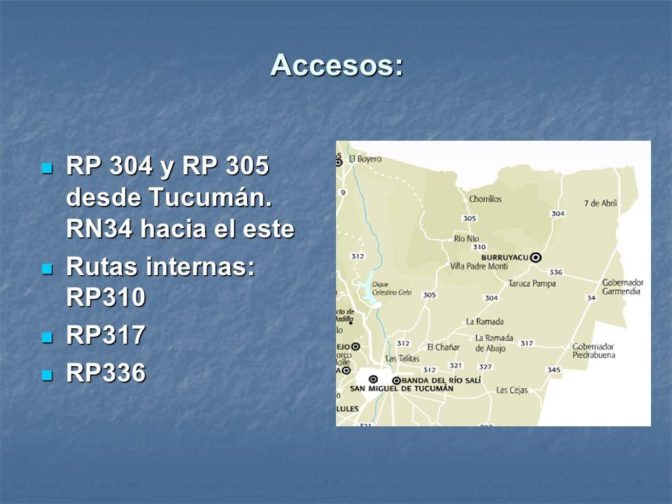 Accesos: RP 304 y RP 305 desde Tucumán. RN34 hacia el este RP 304 y RP 305 desde Tucumán. RN34 hacia el este Rutas internas: RP310 Rutas internas: RP3