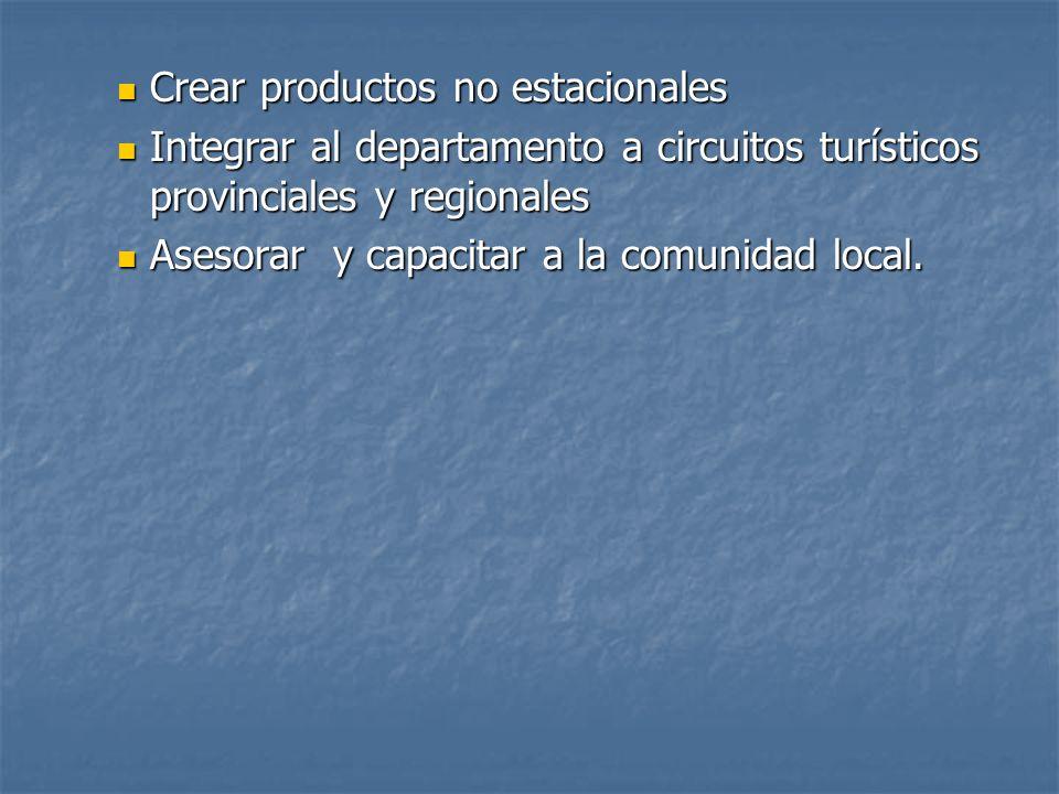 Crear productos no estacionales Crear productos no estacionales Integrar al departamento a circuitos turísticos provinciales y regionales Integrar al