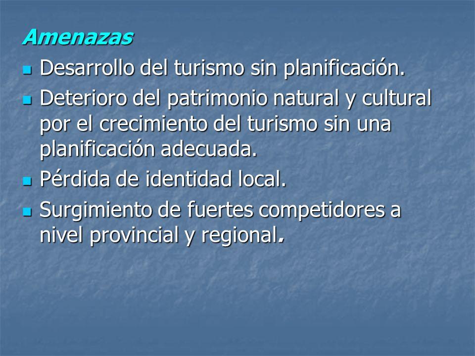 Amenazas Desarrollo del turismo sin planificación. Desarrollo del turismo sin planificación. Deterioro del patrimonio natural y cultural por el crecim