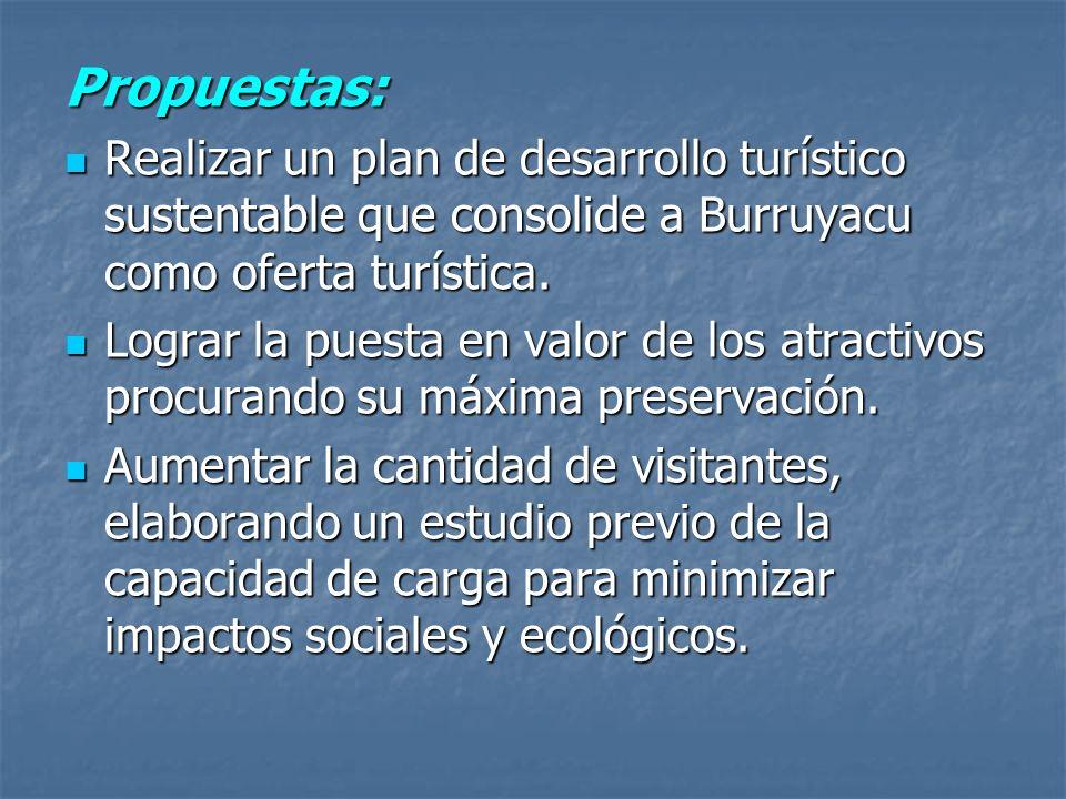 Propuestas: Realizar un plan de desarrollo turístico sustentable que consolide a Burruyacu como oferta turística. Realizar un plan de desarrollo turís