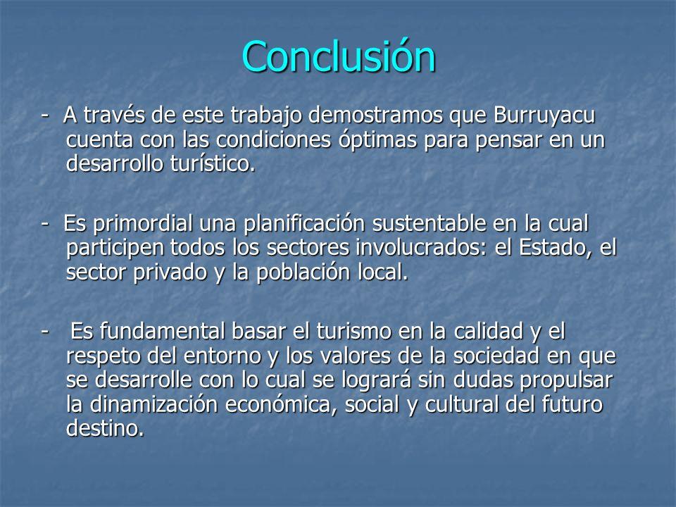 Conclusión - A través de este trabajo demostramos que Burruyacu cuenta con las condiciones óptimas para pensar en un desarrollo turístico. - Es primor