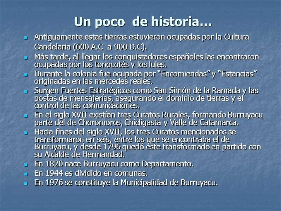 Un poco de historia… Antiguamente estas tierras estuvieron ocupadas por la Cultura Candelaria (600 A.C a 900 D.C). Antiguamente estas tierras estuvier