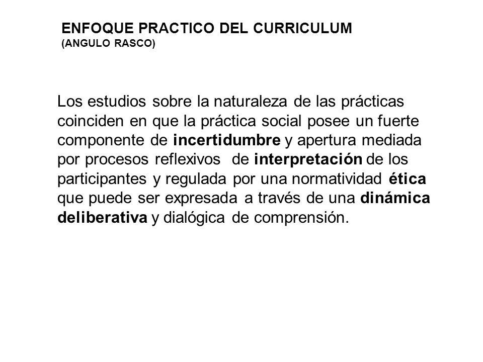 ENFOQUE PRACTICO DEL CURRICULUM (ANGULO RASCO) Los estudios sobre la naturaleza de las prácticas coinciden en que la práctica social posee un fuerte c