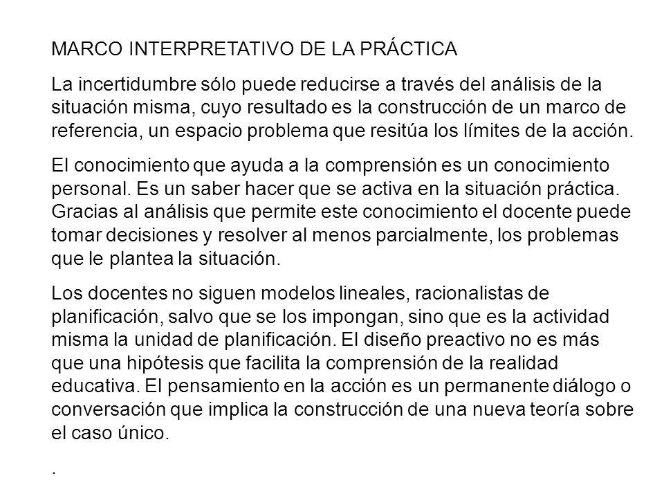 MARCO INTERPRETATIVO DE LA PRÁCTICA La incertidumbre sólo puede reducirse a través del análisis de la situación misma, cuyo resultado es la construcci
