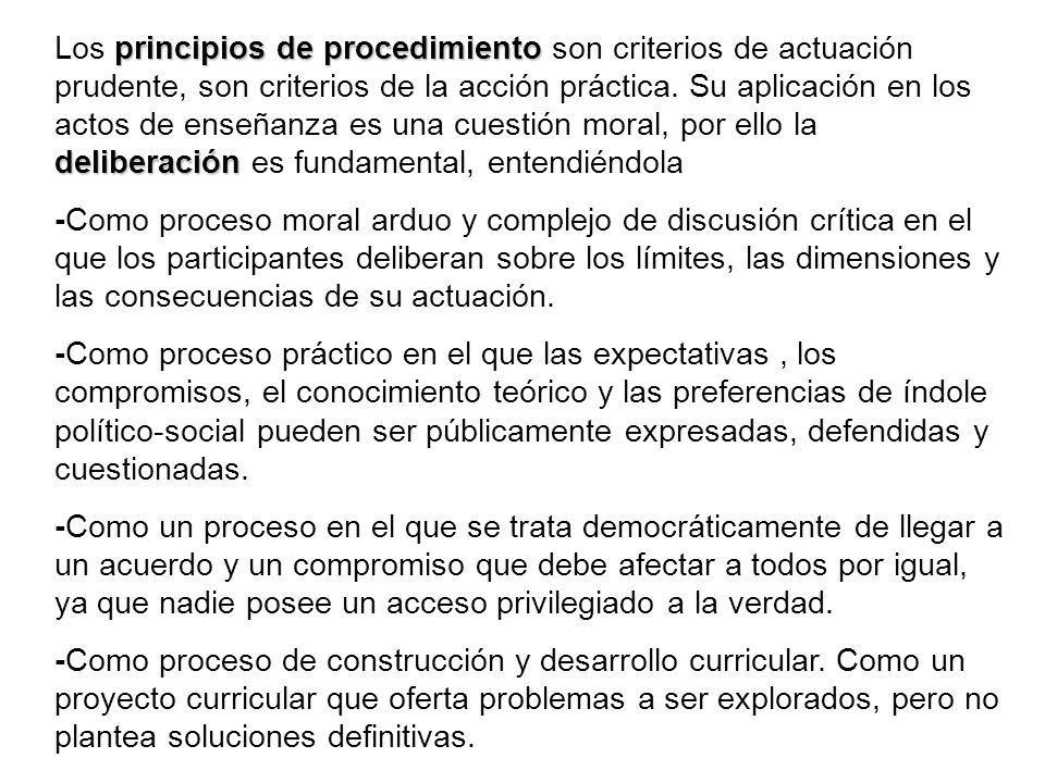 principios de procedimiento deliberación Los principios de procedimiento son criterios de actuación prudente, son criterios de la acción práctica. Su