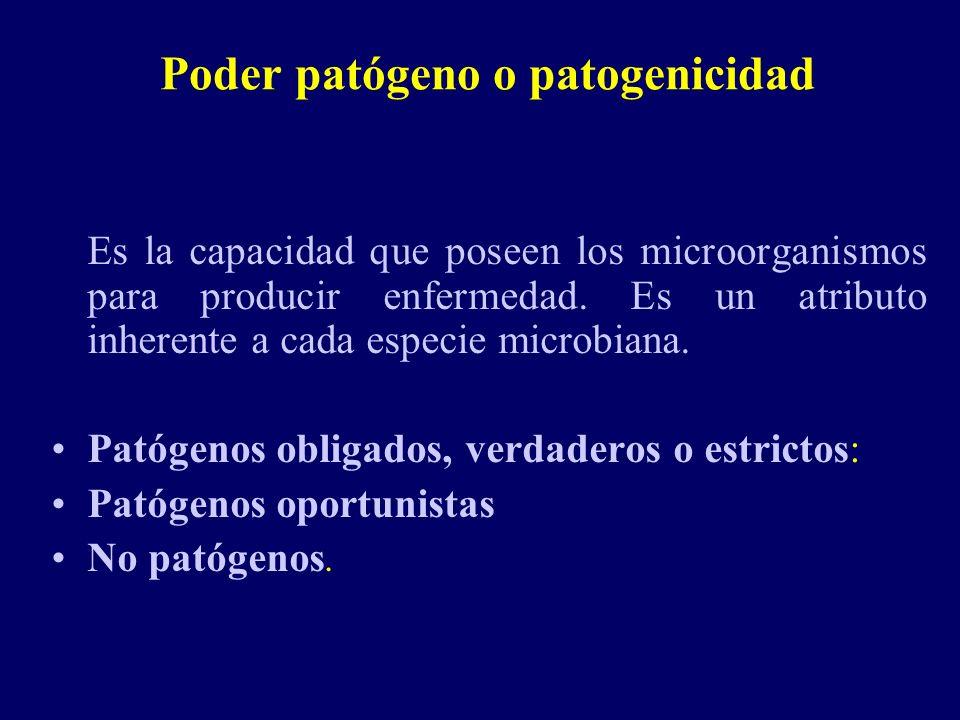 Poder patógeno o patogenicidad Es la capacidad que poseen los microorganismos para producir enfermedad. Es un atributo inherente a cada especie microb
