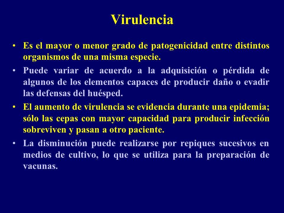 Virulencia Es el mayor o menor grado de patogenicidad entre distintos organismos de una misma especie. Puede variar de acuerdo a la adquisición o pérd