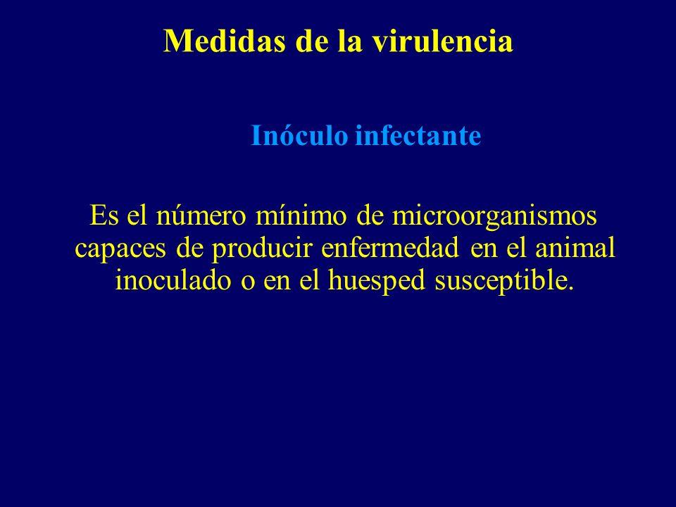 Medidas de la virulencia Inóculo infectante Es el número mínimo de microorganismos capaces de producir enfermedad en el animal inoculado o en el huesp